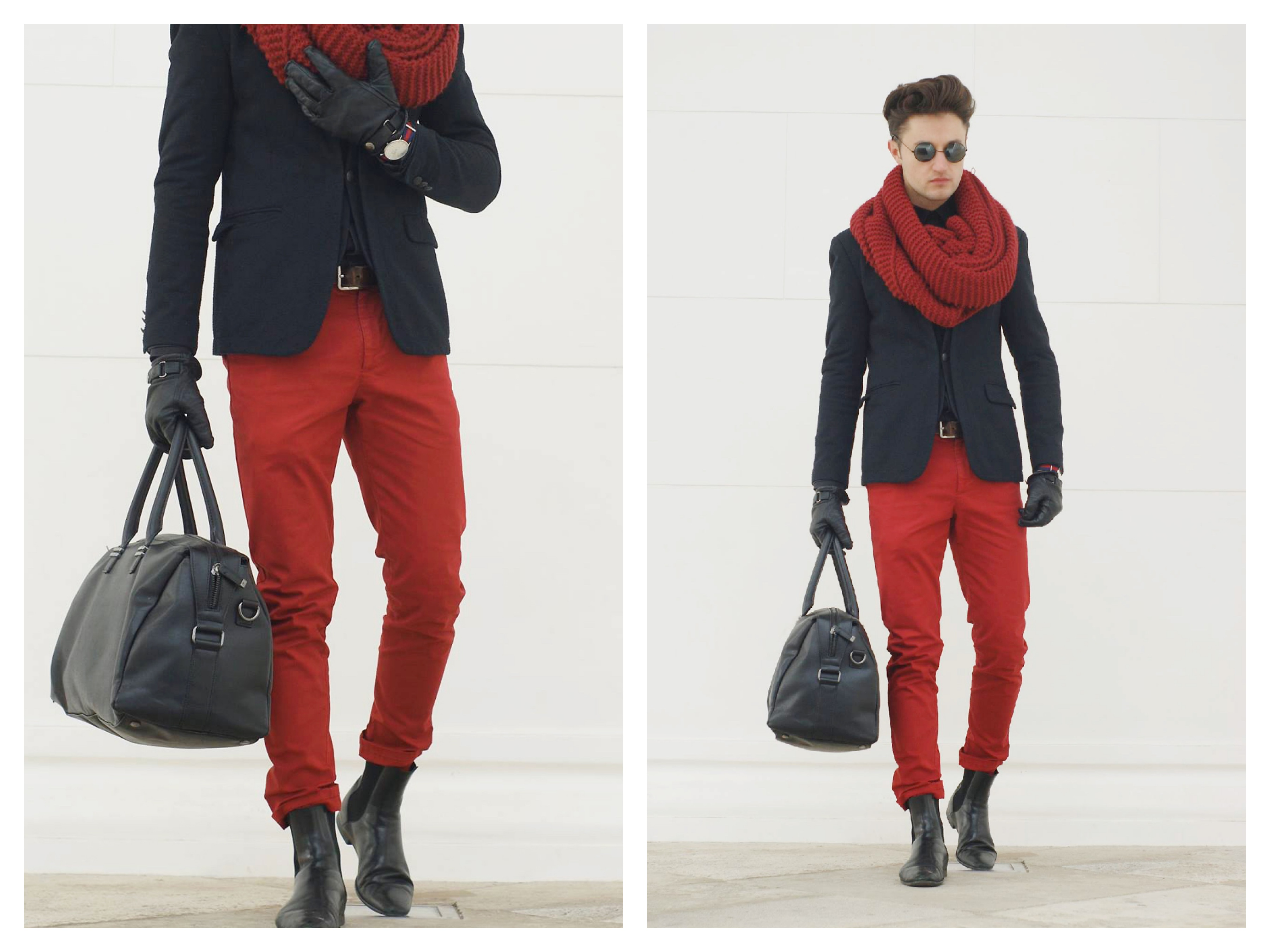 fashion blogger ivo saraf is showing his red and black outfit for the women's day celebration.